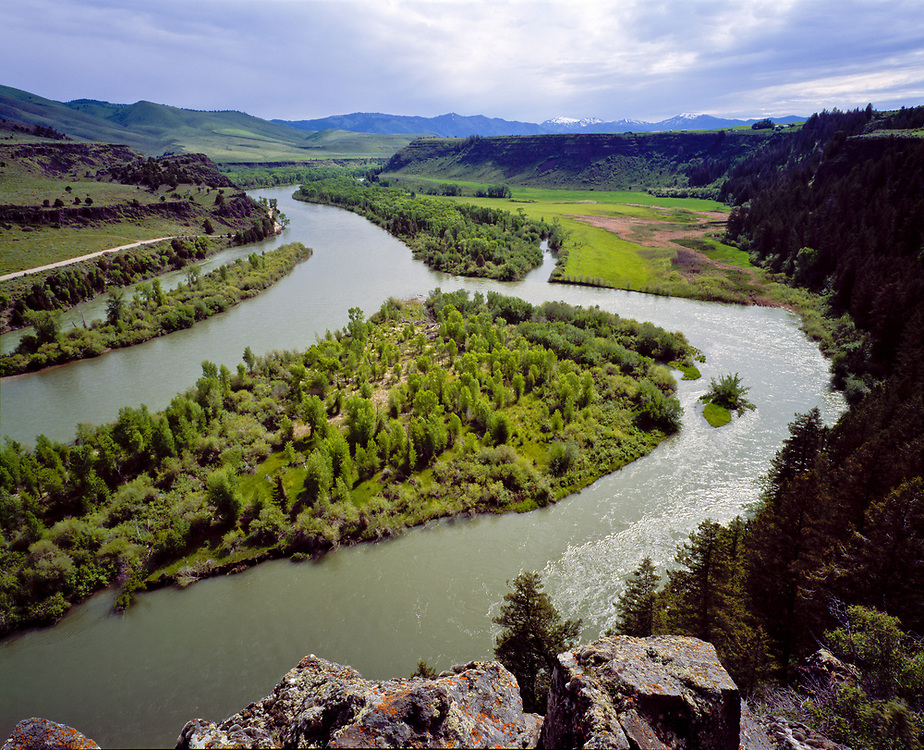 South Fork of the Snake River early summer season just above the rural town of Ririe in Eastern Idaho on a gorgeous fall evening. Licensing and Open Edition Prints.