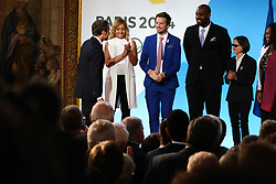 French President Emmanuel Macron With Estelle Mossely, Charles Rozoy, Sandrine Martinet, Laura Flessel and Teddy Riner during the reception in honor of the French delegation Paris 2024, Elysée Palace, Paris, September 15, 2017, Photo by Hamilton/Pool/ABACAPRESS.COM