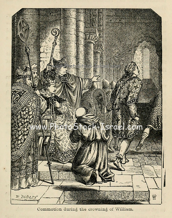 Commotion during the crowning of William [the Conqueror] From the Book 'Danes, Saxons and Normans : or, Stories of our ancestors' by Edgar, J. G. (John George), 1834-1864 Published in London in 1863