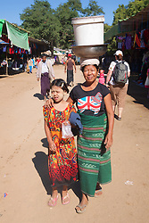 Woman And Daughter Near Shwezigon Pagoda