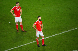 CARDIFF, WALES - Monday, October 9, 2017: Wales' Sam Vokes and Joe Ledley react at the final whistle during the 2018 FIFA World Cup Qualifying Group D match between Wales and Republic of Ireland at the Cardiff City Stadium. (Pic by Peter Powell/Propaganda)