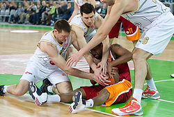 Darius Washington of Lottomatica between Goran Jagodnik of Olimpija, Vlado Ilievski  of Olimpija and Giorgi Shermadini of Olimpija during basketball match between KK Union Olimpija (SLO) and Lottomatica Roma (ITA) in Group F of Top 16 Turkish Airlines Euroleague, on February 23, 2011 in Arena Stozice, Ljubljana, Slovenia.  (Photo By Vid Ponikvar / Sportida.com)