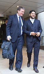 "© Licensed to London News Pictures. 10/11/2017. LONDON, UK.  JAMES FARRAR and YASEEN ASLAM, former Uber drivers, arrive at the Employment Appeals Tribunal in London today. The two former drivers, James Farrar and Yaseen Aslam, won a landmark case against the cab hiring app last year after arguing they were employees and entitled to the minimum wage, sick pay and paid holiday. Uber challenged the ruling, saying it could deprive drivers of the ""personal flexibility they value"".  Photo credit: Vickie Flores/LNP"