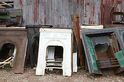 Old fireplaces for sale at reclamation yard,