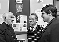 """Bishop James Kavanagh Auxilliary Bishop of Dublin officially opened the exhibition """"Cardinal Newman in Ireland"""" in the Central Catholic Library in Merrion Square, Dublin, 16/10/1986 (Part of the Independent Newspapers Ireland/NLI Collection)."""