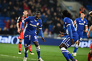 Cardiff's Bruno Ecuele-Manga celebrates after he scores his teams 1st goal with a header to make it 1-1.  Skybet football league championship, Cardiff city v AFC Bournemouth at the Cardiff city stadium in Cardiff, South Wales on Tuesday 17th March 2015.<br /> pic by Andrew Orchard, Andrew Orchard sports photography.