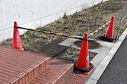 red cones with bar blocking a dangerous grassy sidewalk
