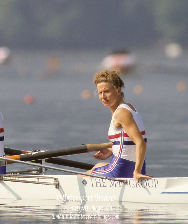 Bled, Slovenia, YUGOSLAVIA. GBR LW4-. Bow Sue KEY,  1989 World Rowing Championships, Lake Bled. [Mandatory Credit. Peter Spurrier/Intersport Images]