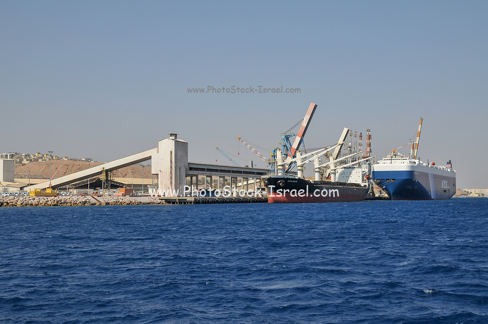 Ships at the Port of Eilat in the Red Sea, Israel