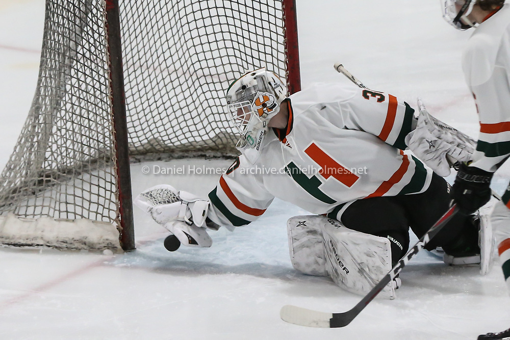 (12/28/19, MARLBOROUGH, MA) Hopkinton's Gray Bailey makes a save during the first round of the 20th annual Daily News Cup against Hudson at New England Sports Center in Marlborough on Saturday. [Daily News and Wicked Local Photo/Dan Holmes]