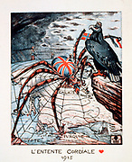 Entente Cordiale, 1904 agreement between France and Britain partly to prevent German expansion. German  (Eagle) view of Entente in 1915,  as spider Britain with everything in her web which is gradually being broken.