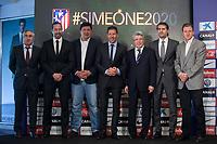 Mono Burgos (3L), Diego Pablo `Cholo´ Simeone (4L), Enrique Cerezo (3R) and Jose Luis Caminero (2R) during Simeone´s contract renewal announcement as Atletico de Madrid´s coach until 2020, in Madrid, Spain. March 24, 2015. (ALTERPHOTOS/Victor Blanco)
