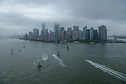 All six SailGP F50s sailtogether on the Hudson river ahead of  event 3 Season 1 SailGP event in New York City, New York, United States. 19 June 2019. Photo: Chris Cameron for SailGP. Handout image supplied by SailGP