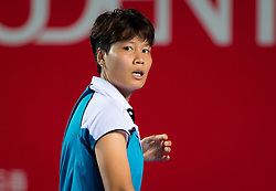 October 12, 2018 - Luksika Kumkhum of Thailand in action during her quarter-final match at the 2018 Prudential Hong Kong Tennis Open WTA International tennis tournament (Credit Image: © AFP7 via ZUMA Wire)
