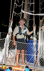 05 April 2011. St Maarten, Antilles, Caribbean.<br /> Dr Andrew Bainbridge is all smiles as he draws close to shore for the first time in 9 weeks.<br /> After more than 9 weeks at sea, having started in the Canary islands, the 'Antiki' transatlantic raft gets set to arrive in St Maarten in the Caribbean following an epic voyage. The incredible vessel is crewed by Anthony Smith (84 yrs old) British adventurer, David Hildred, sailing master and British Virgin Islands resident, Dr Andrew Bainbridge of Alberta, Canada and John Russell, solicitor and UK resident.<br /> Photo; Photo; Charlie Varley/varleypix.com