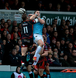 George North of Ospreys and Hallam Amos of Dragons vie for the high ball<br /> <br /> Photographer Simon King/Replay Images<br /> <br /> Guinness PRO14 Round 12 - Dragons v Ospreys - Sunday 30th December 2018 - Rodney Parade - Newport<br /> <br /> World Copyright © Replay Images . All rights reserved. info@replayimages.co.uk - http://replayimages.co.uk