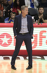 October 30, 2017 - Los Angeles, California, U.S - Coach,�Steve Kerr of the Golden State Warriors during their NBA game with the Los Angeles Clippers on Monday October 30, 2017 at the Staples Center in Los Angeles, California. Clippers v Warriors. Clippers lose to Warriors, 141-113. (Credit Image: © Prensa Internacional via ZUMA Wire)