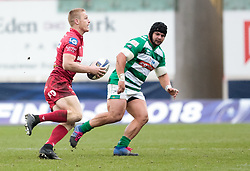 Scarlets' Johnny McNicholl<br /> <br /> Photographer Simon King/Replay Images<br /> <br /> EPCR Champions Cup Round 3 - Scarlets v Benetton Rugby - Saturday 9th December 2017 - Parc y Scarlets - Llanelli<br /> <br /> World Copyright © 2017 Replay Images. All rights reserved. info@replayimages.co.uk - www.replayimages.co.uk