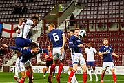 Tammy Abraham England U21s (Aston Villa, loan from Chelsea) heads towards goal during the U21 UEFA EUROPEAN CHAMPIONSHIPS match Scotland vs England at Tynecastle Stadium, Edinburgh, Scotland, Tuesday 16 October 2018.