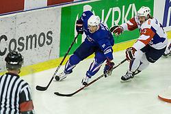 Gasper Kopitar of Slovenia vs Yohann Auvitu of France during ice-hockey match between Slovenia and France in Slovenia Euro ice hockey challenge, on November 9, 2012 at Hala Tivoli, Ljubljana, Slovenia. (Photo By Grega Valancic / Sportida)Gas