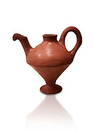 Hittite terra cotta side spouted teapot . Hittite Period, 1600 - 1200 BC.  Hattusa Boğazkale. Çorum Archaeological Museum, Corum, Turkey. Against a white bacground. .<br />  <br /> If you prefer to buy from our ALAMY STOCK LIBRARY page at https://www.alamy.com/portfolio/paul-williams-funkystock/hittite-art-antiquities.html  - Hattusa into the LOWER SEARCH WITHIN GALLERY box. Refine search by adding background colour, place,etc<br /> <br /> Visit our HITTITE PHOTO COLLECTIONS for more photos to download or buy as wall art prints https://funkystock.photoshelter.com/gallery-collection/The-Hittites-Art-Artefacts-Antiquities-Historic-Sites-Pictures-Images-of/C0000NUBSMhSc3Oo