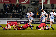 Sale Sharks full-back Simon Hammersley breaks through the Saracens defence during a Premiership Rugby Cup Semi Final  won by Sale 28-7, Friday, Feb. 7, 2020, in Eccles, United Kingdom. (Steve Flynn/Image of Sport)
