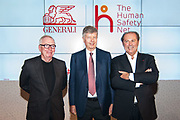 David Chipperfield, Gabriele Galateri di Genola and Philippe Donnet attend the Global Launch Of The Human Safety Net on October 4, 2017 in Venice, Italy. ©Simone Padovani