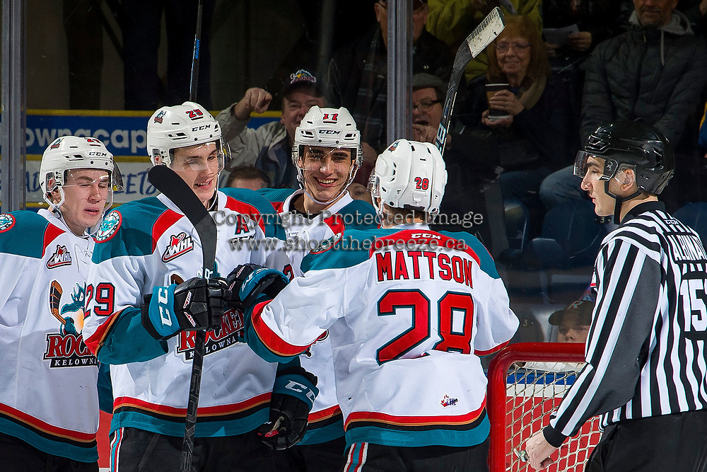 KELOWNA, CANADA - FEBRUARY 6:  Leif Mattson #28 raises his hands to celebrate the first WHL career goal of Alex Swetlikoff #17 of the Kelowna Rockets against the Spokane Chiefs on February 6, 2019 at Prospera Place in Kelowna, British Columbia, Canada.  (Photo by Marissa Baecker/Shoot the Breeze)