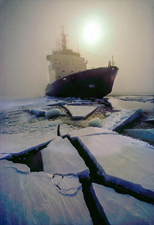 Finnish icebreaker Sisu breaking ice in the Gulf of Bothnia, Northern Finland