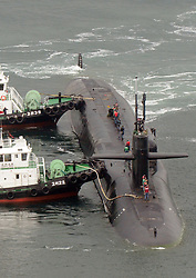 April 25, 2017 - Busan, South Korea - The nuclear-powered submarine USS Michigan enters a naval base in the southeastern port of Busan, to join the USS Carl Vinson in drills near the Korean Peninsula amid growing nuclear and missile threats from North Korea.  (Credit Image: © Hakyung-Min/Xinhua via ZUMA Wire)