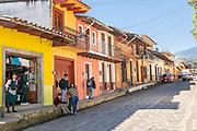 View of Miguel Hidalgo Street leading to the Parroquia Santa María Magdalena church in Xico, Veracruz, Mexico.