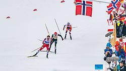 02.03.2019, Seefeld, AUT, FIS Weltmeisterschaften Ski Nordisch, Seefeld 2019, Nordische Kombination, Langlauf, Team Bewerb 4x5 km, im Bild v.l. Jarl Magnus Riiber (NOR), Fabian Riessle (GER), Lukas Klapfer (AUT) // f.l. Jarl Magnus Riiber of Norway Fabian Riessle of Germany and Lukas Klapfer of Austria during the Cross Country Team competition 4x5 km of Nordic Combined for the FIS Nordic Ski World Championships 2019. Seefeld, Austria on 2019/03/02. EXPA Pictures © 2019, PhotoCredit: EXPA/ Stefan Adelsberger