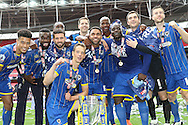 . AFC Wimbledon promotion to League One, after beating Plymouth Argyle Football Club 2-0 during the Sky Bet League 2 play off final match between AFC Wimbledon and Plymouth Argyle at Wembley Stadium, London, England on 30 May 2016. Photo by Stuart Butcher.