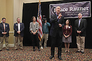 Illinois Republican gubernatorial candidate Bruce Rauner stopped at the Regency Conference Center in O'Fallon as part of his bus trip around the state on Wednesday. With him at the appearance (from left): Illinois Senator Kyle McCarter, U.S. congressional candidate Mike Bost, Rauner's wife Diana, Rauner, Lt. Governor candidate Evelyn Sanguinetti, and U.S. Congressman John Shimkus.