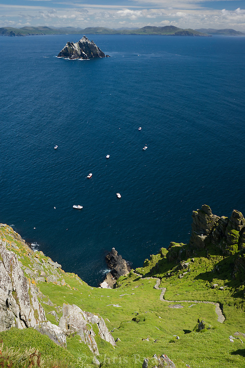 View from beehive huts on Skellic Michael; Little Skellig in distance; County Kerry, Ireland