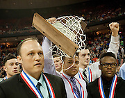 Mumford walks off the court with their State Runner-up trophy after losing to Dallas Triple A Academy in the UIL 1A division 1 state championship game at the Frank Erwin Center in Austin on Saturday, March 9, 2013. (Cooper Neill/The Dallas Morning News)
