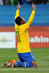 28.06.2010, Ellis Park Stadium, Johannesburg, RSA, FIFA WM 2010, Brazil (BRA) vs Chile. (CHI), im Bild L'esultanza di Robinho (Brasile) per il gol del 3-0 .Robinho 's celebration for his 3-0 leading goal scored for Brazil. EXPA Pictures © 2010, PhotoCredit: EXPA/ InsideFoto/ Giorgio Perottino +++ for Austria and Slovenia only +++ / SPORTIDA PHOTO AGENCY