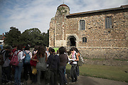 Spanish teenagers on a school fieldtrip, Colchester castle, Essex, England