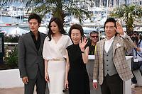 Kim Kang-woo, Kim Hyo-jin, Youn Yuh-jung, Baek Yoon-sik, at The Taste of Money photocall at the 65th Cannes Film Festival France. Saturday 26th May 2012 in Cannes Film Festival, France.