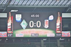"28.07.2013, Weserstadion, Bremen, GER, 1.FBL, ""Tag der Fans 2013"" des SV Werder Bremen, Testspiel SV Werder Bremen vs Fulham FC, im Bild die Anzeigetafel mit dem Halbzeitstand // during the ""Tag der Fans 2013"" of the German Bundesliga Club SV Werder Bremen at the Weserstadion, Bremen, Germany on 2013/07/28. EXPA Pictures © 2013, PhotoCredit EXPA Andreas Gumz ***** ATTENTION - OUT OF GER *****"