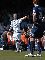 Photo: Ashley Pickering.<br /> Southend United v Colchester United. Coca Cola Championship. 06/04/2007.<br /> Jamie Cureton of Colchester celebrates his hatrick