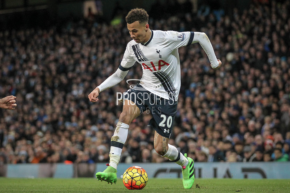 Dele Alli (Tottenham Hotspur) during the Barclays Premier League match between Manchester City and Tottenham Hotspur at the Etihad Stadium, Manchester, England on 14 February 2016. Photo by Mark P Doherty.