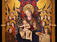 Virgin Mary; Mother of God; The Virgin; Mare de deu; Gothic altarpiece of Madonna and Child by Joan Reixach of Barcelona, circa 1450, tempera and gold leaf on wood, from the sanctuary of San Pau d'Albocasser, Castello..  National Museum of Catalan Art, Barcelona, Spain, inv no: MNAC  64055. Against a black background. . .<br /> <br /> If you prefer you can also buy from our ALAMY PHOTO LIBRARY  Collection visit : https://www.alamy.com/portfolio/paul-williams-funkystock/gothic-art-antiquities.html  Type -     MANAC    - into the LOWER SEARCH WITHIN GALLERY box. Refine search by adding background colour, place, museum etc<br /> <br /> Visit our MEDIEVAL GOTHIC ART PHOTO COLLECTIONS for more   photos  to download or buy as prints https://funkystock.photoshelter.com/gallery-collection/Medieval-Gothic-Art-Antiquities-Historic-Sites-Pictures-Images-of/C0000gZ8POl_DCqE
