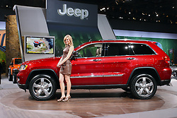 08 February 2012:  2012 JEEP GRAND CHEROKEE: For the 2012 model year, the Jeep Grand Cherokee SUV receives enhancements that improve both on- and off-road performance. Mechanical changes include a revised automatic transmission for V8 models, and an electro-hydraulic power steering system on V6 models. The Grand Cherokee is offered in Laredo, Limited, Overland and Overland Summit trim levels, and there are three 4x4 systems, including Quadra-Trac I, Quadra-Trac II and Quadra-Drive II. Standard engine is the 3.6-liter Pentastar V6 that produces 290 horsepower and 260 lb. ft. of torque. It's mated to a five-speed automatic transmission and offers a trailer-tow capability of up to 5,000 lbs. The optional 5.7L V8 increases the horsepower to 360, the torque to 390 and trailer-tow rating up to 7,400 lbs. New for 2012, the 5.7L engine is mated to an automatic transmission that allows the driver to choose between six-speeds when shifted in manual mode. The Grand Cherokee also offers the Quadra-Lift air suspension system, which adds up to 4.1 inches of lift span. Seating arrangement is two upfront and three-passenger rear, or when rear seat is down, room for 68.7 cu. ft. of cargo. New infotainment technologies enable drivers to safely communicate, navigate and select entertainment options using advance voice recognition controls. Chicago Auto Show, Chicago Automobile Trade Association (CATA), McCormick Place, Chicago Illinois