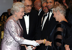 Queen Elizabeth ll meets Dame Judi Dench at the Royal Premiere for the 21st Bond film 'Casino Royale' at the Odeon in Leicester Square, London on November 14, 2006.<br /> Anwar Hussein/EMPICS Entertainment