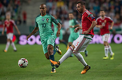 September 3, 2017 - Budapest, Hungary - Joao Mario (L) of Portugal in action with Attila Fiola (R) of Hungary during the World Cup qualification match between Hungary and Portugal at Groupama Arena on Nov 03, 2017 in Budapest, Hungary. (Credit Image: © Robert Szaniszlo/NurPhoto via ZUMA Press)