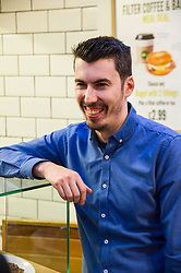 Pictured: Manager Leo Smith<br /> Greens co-cordinator Partrick Harvie headed to Rose Street in Edinburgh today to serve customers at Social Bite cafe, a social enterprise supporting the homeless<br /> <br /> Ger Harley | EEm 20 April 2016