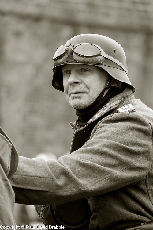 21st Panzer Dispatch rider with bike during battle reenactment - Nww2A Fort Paull<br /> <br />  Copyright Paul David Drabble<br /> 5th & 6th May 2019<br />  www.pauldaviddrabble.co.uk