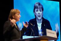 01 DEC 2003, BERLIN/GERMANY:<br /> Angela Merkel, CDU Bundesvorsitzende, haelt eine Rede,17. CDU Parteitag, Messe Leipzig<br /> IMAGE: 20031201-01-063<br /> KEYWORDS: party congress, Eröffnungsrede, Eroeffnungsrede, Display, Leinwand, Videowand