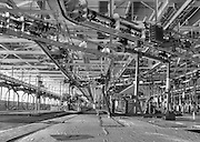 Empty upper level repair area of Chrysler Newark main assembly plant, black and white HDR image